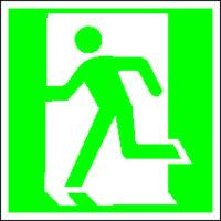 Выход здесь (левосторонний). Знаки пожарной безопасности