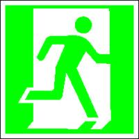 Выход здесь (правосторонний). Знаки пожарной безопасности