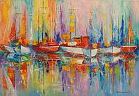 «Парусники в гавани» картина маслом