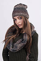 Модная женская шапка с шарфом