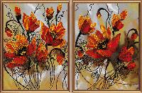 """Схема для вишивки бісером """"Вогняні квіти"""" 2 частини по 22x30"""