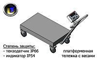 Платформенная тележка с весами Аксис BDU300-0508-В-В, до 300 кг,  размер площадки 500х800 мм