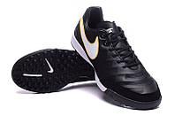 Футбольные сороконожки Nike Tiempo Mystic V TF Black/White/ Metallic Gold, фото 1