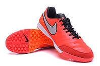 Футбольные сороконожки Nike Tiempo Mystic V TF Light Crimson/Metallic Silver/Total Crimson, фото 1