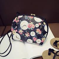 """Маленькая женская сумка """"Часы с цветами"""" черная"""