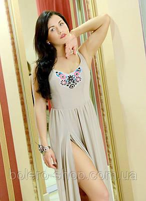 Женское платье в пол  макси летнее бежевое, фото 2