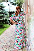 """Цветочное женское длинное платье без карманов большого размера """"Цветик"""""""