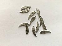 Металлические декоры. Цвет античное серебро. Крылья. 16,5мм