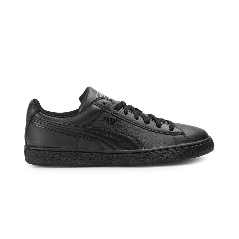 Кроссовки, кеды кожаные повседневные мужские Puma Basket Total Black 360147 02 пума