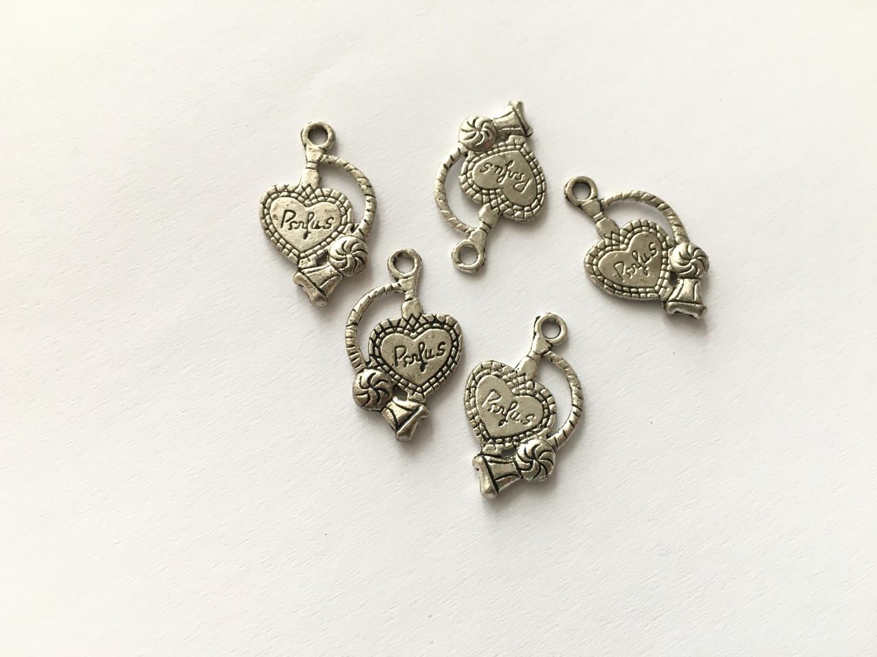 Кулон сердце. Цвет античное серебро. 24мм