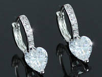 Серьги Sparkling Heart CZ Simulated Diamond Small Huggie Earrings SE412