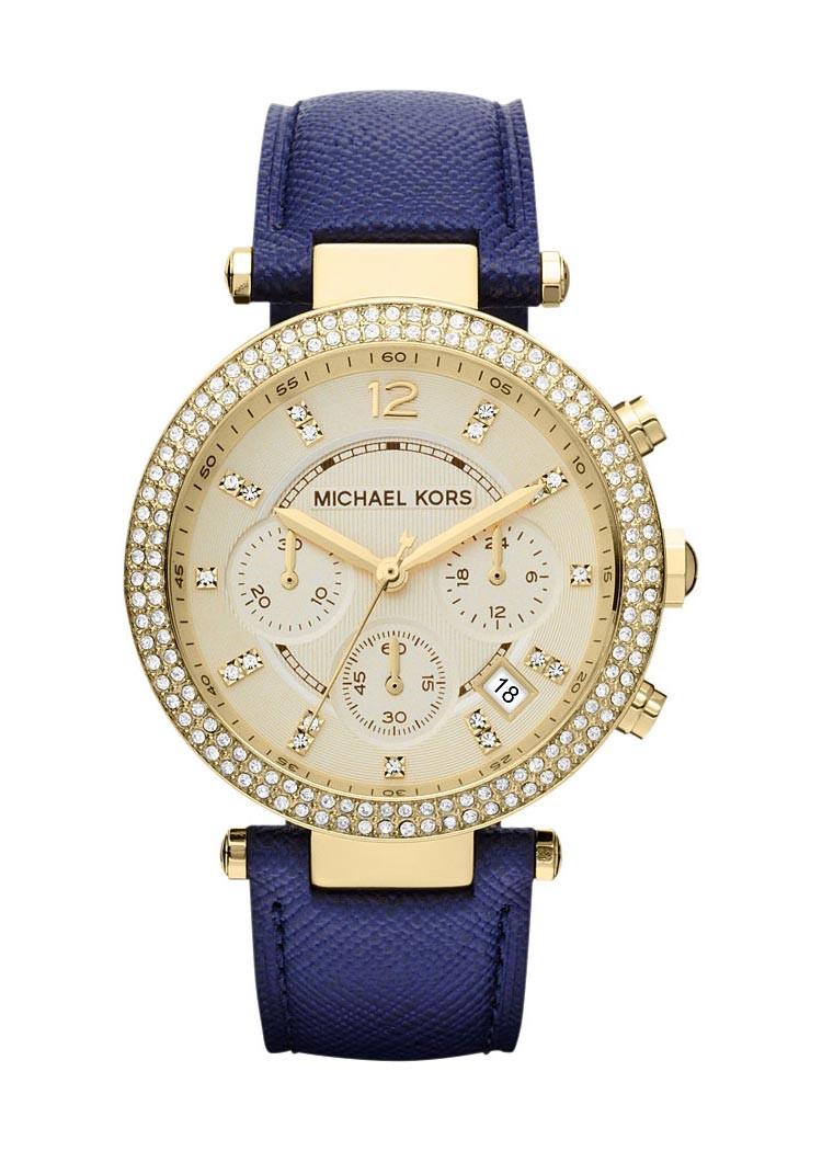 Часы Michael Kors Parker Chronograph Gold-tone Navy Leather MK2280