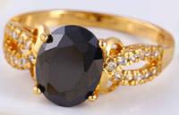 Кольцо позолота с чёрным цирконом размер 17 (GF168)