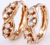 Элегантные серьги колечки с цирконами позолота gold filled (gf574