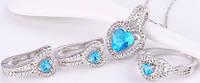Набор серьги, кулон, цепочка, кольцо Размер17 белая позолота голубые цирконы (GF751