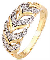Кольцо позолоченное Ажурная Дорожка gold filled с цирконами GF959 размер 17