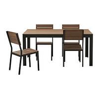 FALSTER Стол+4 стула, д/сада, черный, коричневый