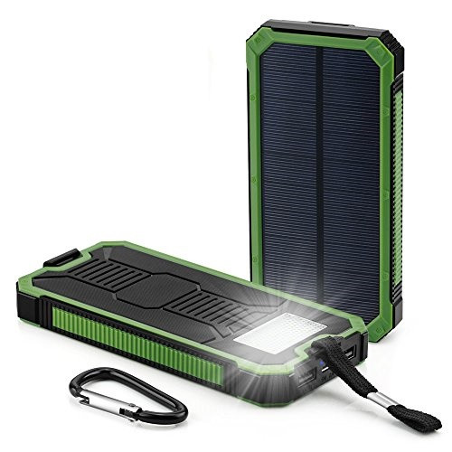 Зарядное IPower Power Bank Stone Solar 15000mAh на солнечной батарее обрезиненный с фонарем и карабином