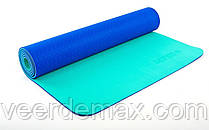 Коврик для йоги и фитнеса Yoga mat 2-х слойный TPE+TC 6mm FI-5172-8 ( 1.73*0.61*6mm) синий-мятный