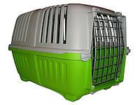Переноска для кошек и собак Pratiko 1 Metal, c металлической дверцей, зеленая