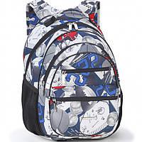 Рюкзак Dolly16 572 черно-голубой размер 30x40x22 см, спинка ортопедическая