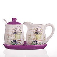 Набор: молочник и сахарница на подставке, lavender