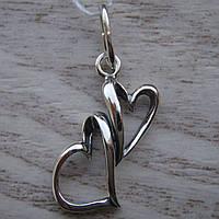 Серебряная подвеска в виде сердечек
