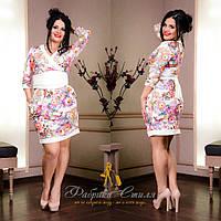 Платье кимоно женское. Ткань креп дайвинг принт турция.Размеры 48-50,50-52.MV 194