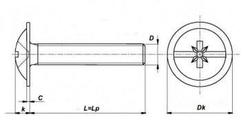 Винт мебельный с буртиком DIN 967 цб — технические параметры