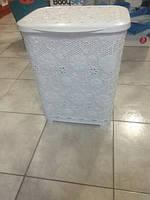 Корзинка для белья пластиковая белая на 45 л. ажурная