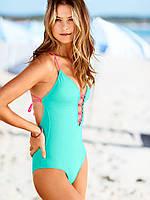 Бирюзово-розовый сдельный купальник Victoria's Secret, фото 1