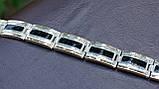 Браслет серебряный с золотыми пластинами, фото 5