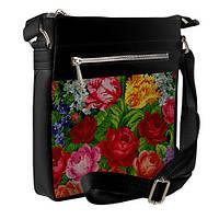 Черная сумка Покет вышиванка с розами