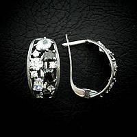 Серебряные серьги с черными и прозрачными фианитами