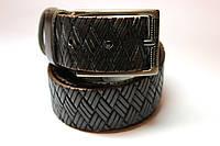 """Ремень кожаный 'UniversalBrown' 40 мм темно-коричневый с тиснением """"плетенка"""""""