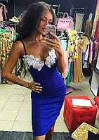 Женское шикарное платье по фигуре на брительках с украшением(макраме) (2 цвета)