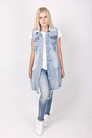Женская джинсовая длинная жилетка