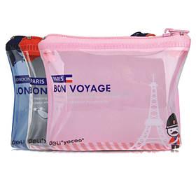 "Пенал Deli 3090 микс 1 отд  кошелек 110х20х80 полоский ""Bon Voyage"""