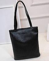 Большая женская сумка Переплетение в стиле Bottega Veneta прямоугольная черная