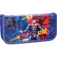 "Пенал Economix16 SM04357 синий ""Superman"", А6 пластик, на молнии"