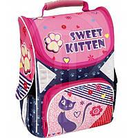 Ранец CF16 CF85280 фиолетово-розо Sweet Kitten 701, 34х26х13 см  каркасный, ортоп. спинка, 1-2 класс