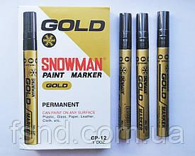 Перманентный маркер SNOWMAN, золотой