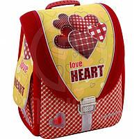 "Ранец CF16 CF85602 желто-красный ""Love Heart"" 710, 35,5х28х21 см, каркасний-трансформер,ортоп. спинка, 1-4 класс"