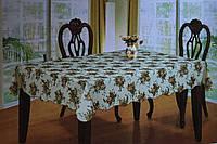 Скатерть кухонная белая с цветочками винил, фото 1