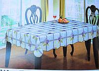 Скатерть кухонная в клеточку с фиалками, фото 1