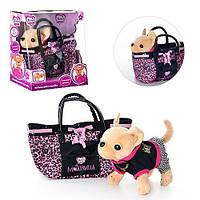 Собачка в сумочке Кикки М 1620: 25 см, плюш, сумка, звуковые эффекты, коробка 29х30х17, 3+ лет