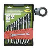 Набор комбинированных ключей с трещоткой шарнирной 12 ед. JBM