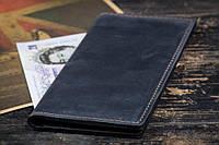 Мужское кожаное Портмоне, кошелек Financier, темно-синий