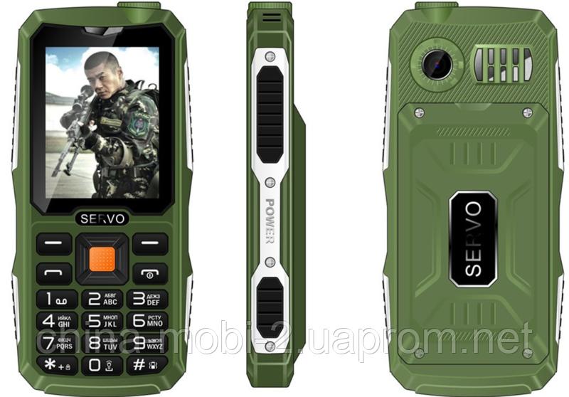 Противоударный телефон Servo V3 -  4 sim, фонарик, Green