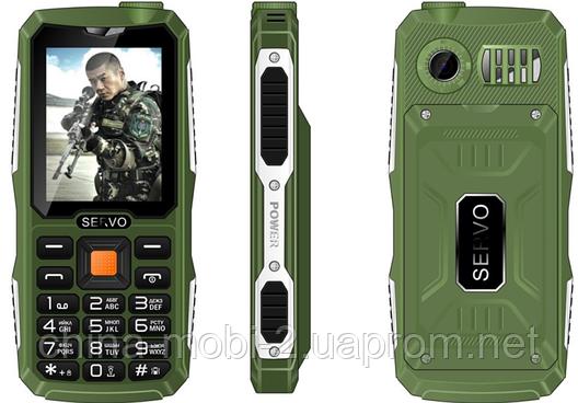 Противоударный телефон Servo V3 -  4 sim, фонарик, Green , фото 2